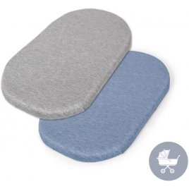 Ceba Prostěradlo do kočárku 73-80 x 30-37 cm 2 ks Light Grey+Blue